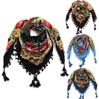 New Fashion Ladies Big Square Scarf Printed Women Wraps Winter ladies Scarves cotton india floural headband