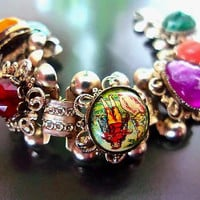 Victorian Revival Multi Color Book Chain Bracelet, Courting Scene, Lucite Cabochons, Vintage