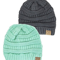 Warm Thick Ribbed Slouchy Knit Winter Beanie Ski Snowboard Hat,One Size,2 Pac...
