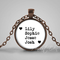 CUSTOM name pendant necklace custom glass pendant for mother with children names, custom mother or grandmother jewelry