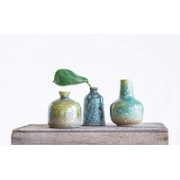 Stoneware Vase with Green and Blue Textured Surface and Reactive Glaze -- Set of 3