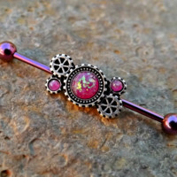 Pink Fire Opal Steam Punk Industrial Piercing Barbell 14ga Upper Ear Piercing Body Jewelry
