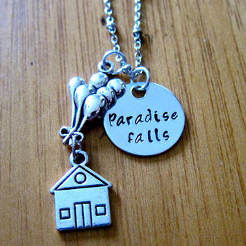 """Disney's """"UP"""" Inspired Necklace. Paradise Falls, house with balloons. Hand Stamped Charm Pendant, Silver colored, for women or girls"""