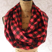 Extra Large Plaid Red Black Scarf FLANNEL Winter Fall Accessories
