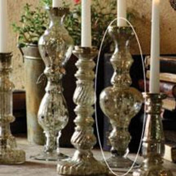 """Antiqued Silver Glass Taper Candle Holder 13"""""""
