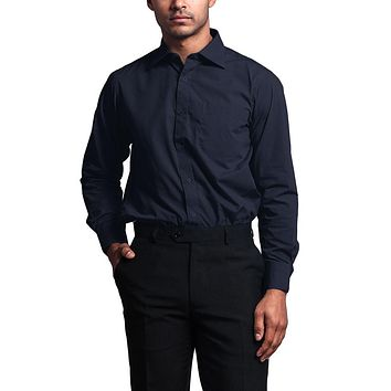 Regular Fit Long Sleeve Dress Shirt - Navy