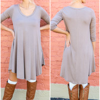 Never Let Go Taupe V-Neck Quarter Sleeve