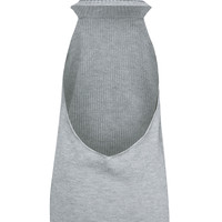 Grey High Neck Backless Knitted Jumper