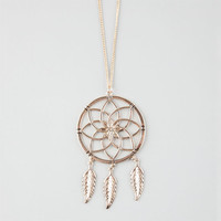 Full Tilt Flower Dream Catcher Necklace Antique Gold One Size For Women 25929862301