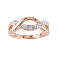 1/10 Carat T.W. Diamond Pink Rhodium-Plated Sterling Silver Infinity Ring (Pink/Silver)