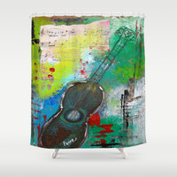 Strum a Song Shower Curtain by kathleentennant