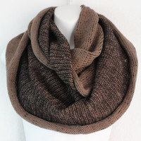 Chunky Knitted two tone Infinity Scarf Cozy Mocha Knitted scarf Loop Scarf Warm Scarf Fall Scarf Knitted Cowl Snood Knitted Scarves