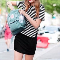 Black and White Striped Tunic Casual Dress