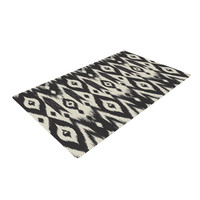 "Amanda Lane ""Black Cream Tribal Ikat"" Tan Dark Woven Area Rug"
