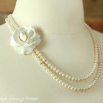 Double Strand Rhinestone Pearl Wedding Necklace, Gardenia, Flower, Floral, Ivory, White Freshwater Pearls, Sterling Silver, Hand Knotted