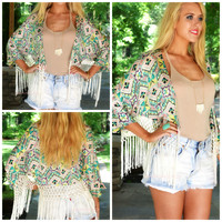 Madame Butterfly Green Fringed Kimono