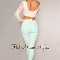Mint Green High-Waist Skinny Jeans