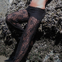 sexy black lace beach resort festival burning man gypsy wide leg flare bottom pants with shorts liner (optional)
