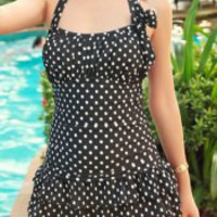Polka Dot Halter Backless Swimsuit