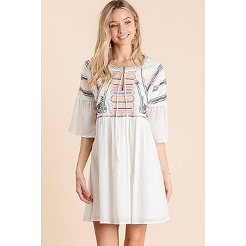 Got Your Attention Off White Embroidered Mini Dress