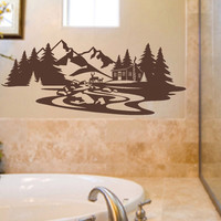 Mountain Cabin Deer Stream Decal | Vinyl Wall Lettering | Wall Art
