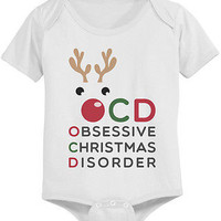 Obsessive Christmas Disorder Baby Bodysuit - White Pre-Shrunk Cotton Baby Onesuit