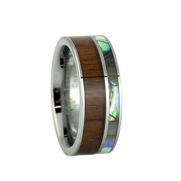 Tungsten ring with real pearl abalone shell black wood inlay