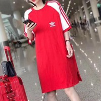 Adidas Casual  Pattern  Round Neck  Short Sleeve Edgy Fashion Mini Dress