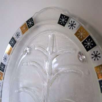 MID CENTURY MODERN - Vintage Serving Platter - Oven Proof - Pyrex - Fire King Glass- Starburst Pattern - Atomic Dish - Mid Mod Plate