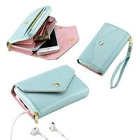 Mint Green Multifunctional Wallet Purse Case for iPhone 5 4S Samsung Galaxy S4 SIV S3 HTC M7 iPod