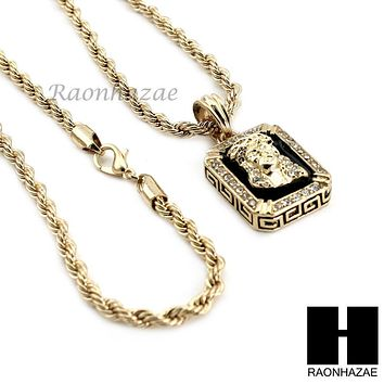 "MENS GOLD BLACK ONYX JESUS FACE CZ PENDANT 24"" ROPE NECKLACE SET N019"