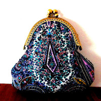 Paisley floral cotton purse / white / pink / green / purple / embossed bronze / coin purse / wallet / handmade / gift / small clasp purse