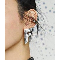 FENDI Newest Women Exaggerated F Letter Diamond Acrylic Earrings Accessories Jewelry Silvery