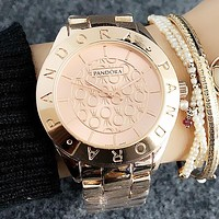 Pandora Popular Woman Men Simple Quartz Movement Watch Couple Wristwatch Rose Golden I-H-JH