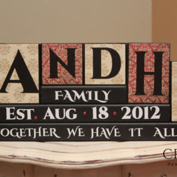 Personalized Family Name (6 Letters) Wood Blocks