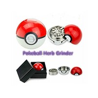 2016 Hot Sale 1Pcs 5.5*5.2cm Cute Game Pokemon and Pokeball Pikachu Tobacco Grinder Zinc Weed Herb Grinder with Box Gift