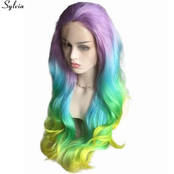 Sylvia Long Colorful Mermaid Wigs Pastel Purple Blue Green Yellow Rainbow Hair Synthetic Lace Front Wig Heat Resistant Free Part