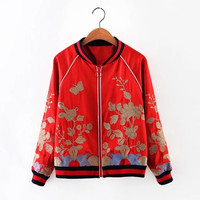 New 2016 Floral Embroidery Baseball Jacket Fashion Women Bomber Jacket Casual Ladies Red/Green Coat Plus Size Chaquetas