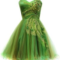 Metallic Peacock Embroidered Holiday Party Homecoming Prom Dress, Small, Lime
