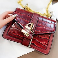 Chloe New fashion leather chain shoulder bag crossbody bag Burgundy