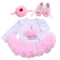 Winter 0-12M Long Sleeve Baby Girl Dress Cotton Child Outfits;New Year 3D Pink Cake Pattern Children Clothes Headband Shoes Set