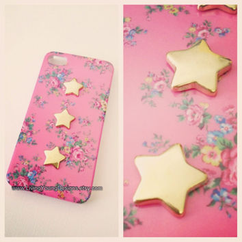 Pink Floral Case with Studded Gold Stars by LivingYoungDesigns