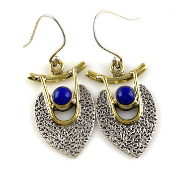 Lapis Sterling Silver Two Tone Earrings