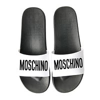 MOSCHINO Summer Trending Women Men Stylish Letter Print Beach Home Sandal Slipper Shoes Black Sole+White Surface I13241-1