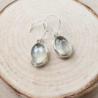 Sparkling White Moonstone Cabochons in Handcrafted Sterling Silver Bezels, Gemstone Dangle Earrings with .925 Silver, Faceted, Earrings
