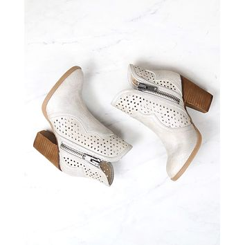 Not Rated - Gretchen Laser Cut Ankle Bootie in Cream