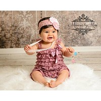 Baby Pink Dusty Rose Lace Petti Romper set ~ Girl Dusty Rose Romper