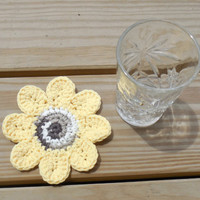 Sunflower Drink Coasters, Crochet Cotton Coasters, Summer Party Decorations, Garden Decor, Flower Coasters, Tablescapes, Set of 4