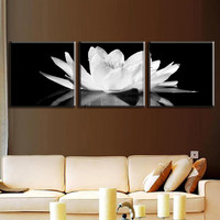 3 Pcs/Set Canvas Print Flower White Lotus In Black Wall Art Picture with Frame Modern Wall Paintings Painting By Numbers
