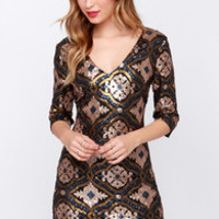 Ornament to Be Gold Sequin Dress